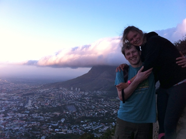 Hiking Lions Head, Table Mountain in the background