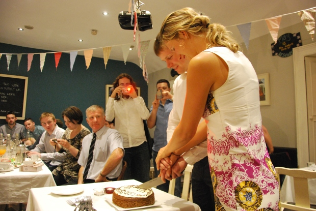 Cutting the cake at the Happy Pear